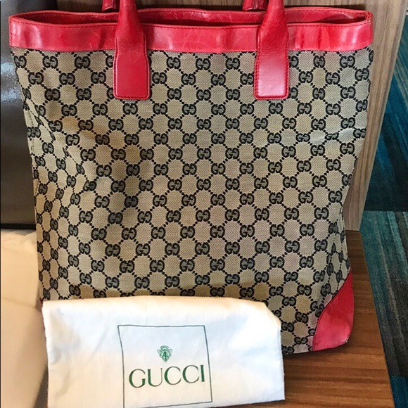9791f20b5db767 Gucci Bags | Large Red And Navy Canvas Leather Tote | Poshmark